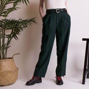 Vintage 90s dark green high waist trouser pants